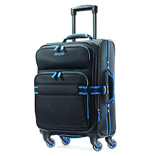 American Tourister Eclipse Softside Spinner Luggage (Black/Blue, 20 inch)
