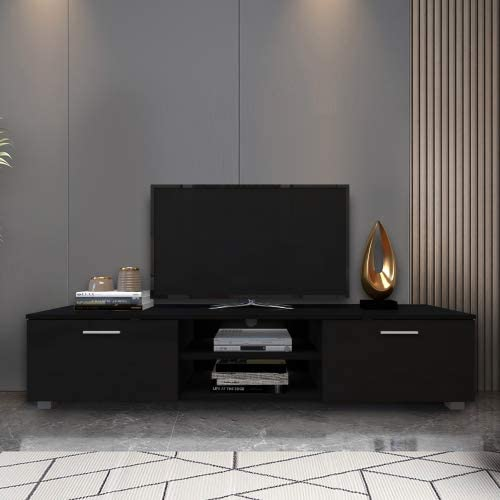 iTasmiss Black TV Stand for 70 Free shipping anywhere in the nation Media Console Stands Ent Popular popular Inch