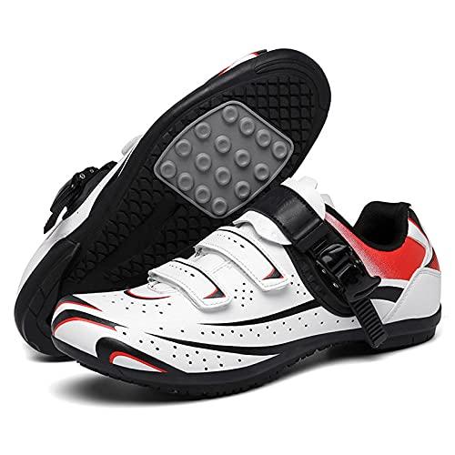 DSMGLSBB Zapatillas De Ciclismo, Hombres Deporte Al Aire Libre Zapatos De Bicicleta, El Verano Sin Cerradura Suelas De Goma Zapatos De Ciclismo Casuales,Blanco,47