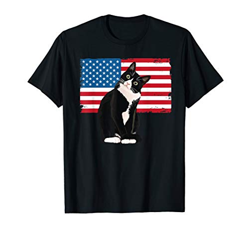 Tuxedo Cat TShirt 4th of July Patriotic Tee Gift Adults Kids T-Shirt