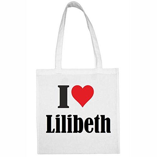 Tasche I Love Lilibeth Größe 38x42 Farbe Weiss Druck Schwarz