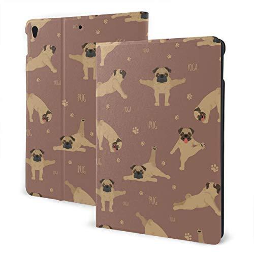 Estuche iPad Personalizado Yoga Perros Poses y Ejercicios Pug Soporte multiángulo Ángulo magnético Auto Despertar Estuche Protector iPad para iPad Air 3 & Pro 10.5 Inch