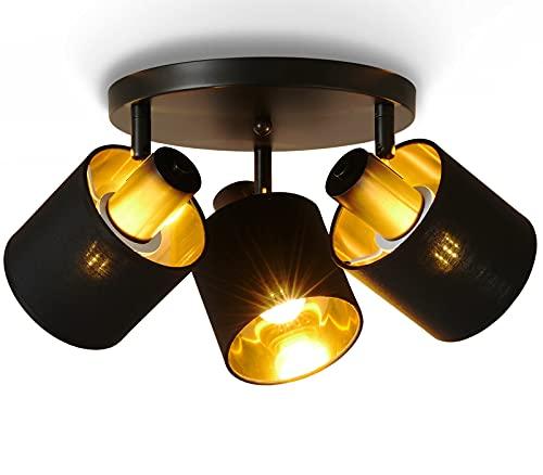 Lightess Deckenlampe Vintage Stoff Deckenleuchte Schwarz Gold E27 Retro Lampe Stoffdeckenleuchte Verstellbaren Strahlern LED Deckenstrahler Textilschirm 3-flammig Spotleuchte Ohne Lichtquelle