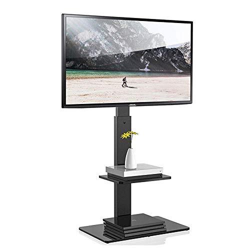 Daily Equipment Soporte para TV de piso con estantes giratorios de montaje en soporte ajustable en altura para televisores curvos de pantalla plana LCD LED OLED QLED de 37 65 pulgadas, color negro