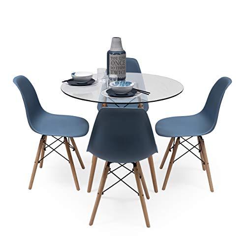 Conjunto de Comedor Tower Cristal. Mesa de Cristal Redonda de 90 cm y 4 sillas MAX Tower (Azul Horizonte)