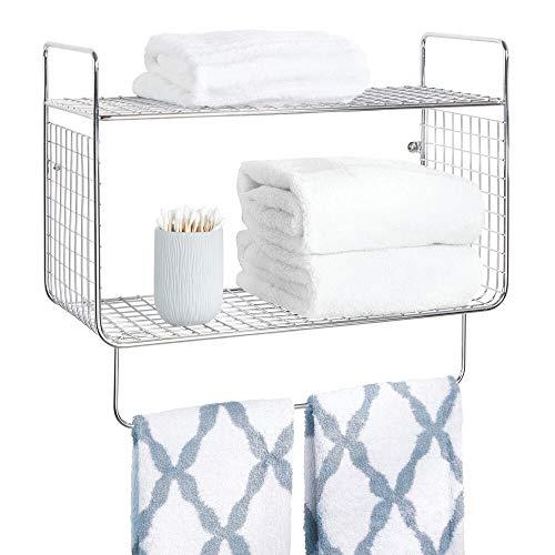 mDesign Badregal – Wandregal mit zwei Ebenen zur Aufbewahrung von Shampoo, Badesalzen, Kosmetik etc. – mit praktischem Handtuchhalter – silberfarben