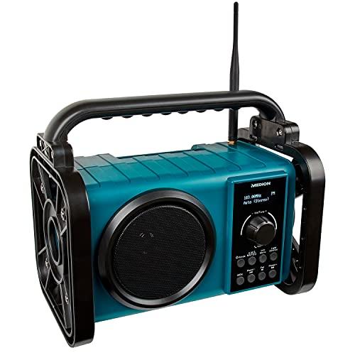 MEDION E66045 DAB+ Baustellenradio (Robustes Gehäuse, Spritzwassergeschützt (IP44), Bluetooth 5.0, PLL UKW Radio, LED-Arbeitslicht, Akku- und Netzbetrieb) blau