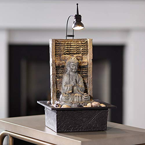 Namaste Zen Buddha Tabletop Water Fountain 11 1/2' Waterfall with LED Light for Indoor Table Desk - John Timberland