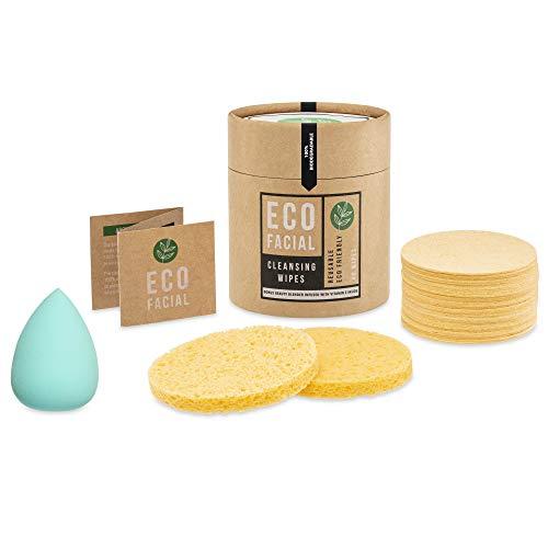 Eco Facial Cleanse Lot de 40 éponges naturelles compressées cellulose biodégradables avec applicateur de maquillage