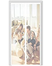 Magnetisch Vliegengaas Horgordijn,180x240cm (70.86x94.48in) Magneten van Boven Tot Onderafdichting Sluit Automatisch,Houdt Frisse Lucht Binnen Bugs Buiten Houden,Easy Installation-Wit