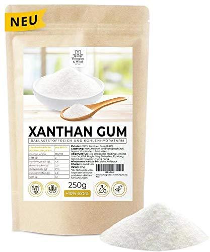 Xanthan Gum 250g+10% extra Vorteilspaket | Abgefüllt+Kontrolliert in Deutschland | Xanthan Pulver Low Carb - Glutenfrei - Bindemittel - Vegan - Excellente Premiumqualität 275g