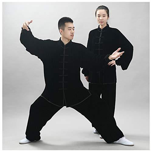 ANXWA Ropa De Taijiquan Práctica,Tai Chi Ropa De Kung Fu Uniformes Chinos Tradicionales De Tai Chi Ejercicio Taekwondo Training Wing Chun Zen Meditación Ropa,Black-S