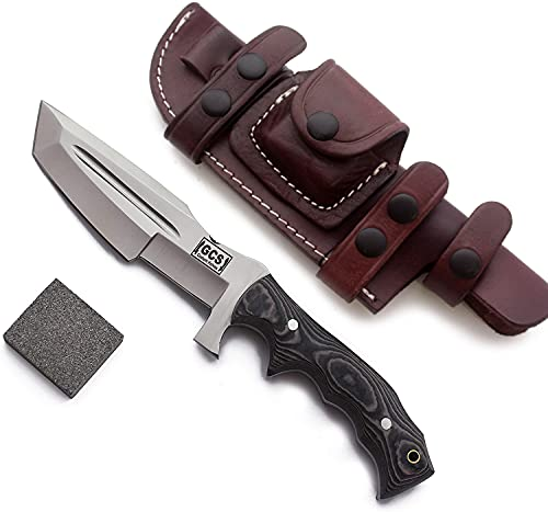 GCS Handmade D2 steel Hunting Knife G10 Handle Fixed Blade Knife with Right Hand Scout Carry Buffalo...