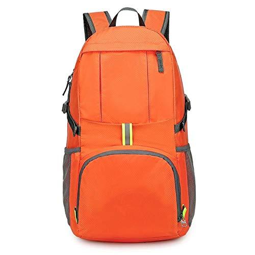 Belleashy, zaino da campeggio leggero da 35 l, pieghevole, per campeggio, trekking, viaggi all'aperto (dimensioni: taglia libera; colore: arancione)