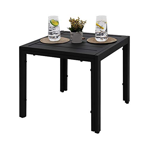 ABBLE Outdoor End Table, Patio Steel Slat Square Side Table, Small End Table for Bedroom, Living Room, Office, Café, Garden, Poolside, Backyard - Black