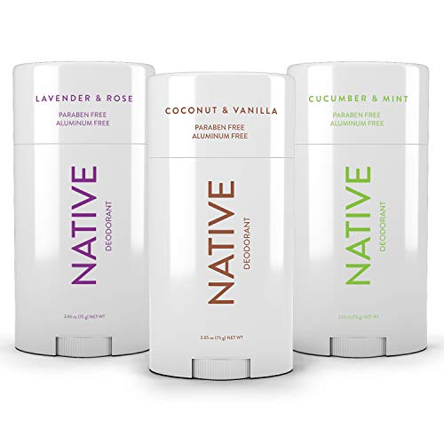 Native Deodorant - Natural Deodorant For Women and Men - 3 Pack - Aluminum Free, Free of Parabens and Sulfates - Coconut & Vanilla, Lavender & Rose & Cucumber & Mint