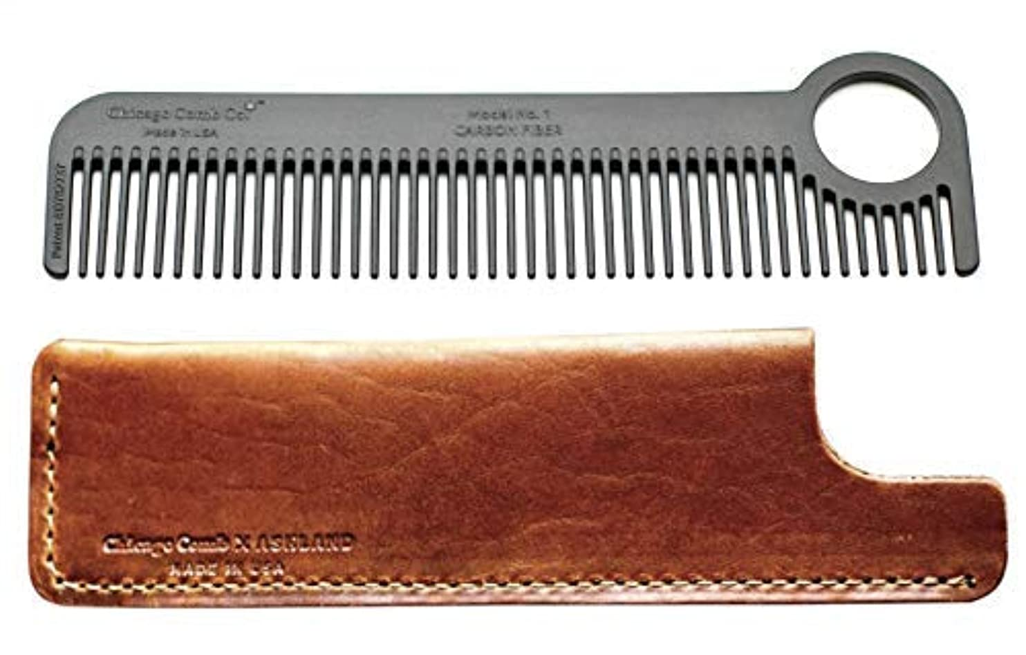 ハンディキャップ振り向くペイントChicago Comb Model 1 Carbon Fiber Comb + English Tan Horween leather sheath, Made in USA, ultimate pocket and travel comb, ultra smooth strong & light, anti-static, premium American leather sheath [並行輸入品]