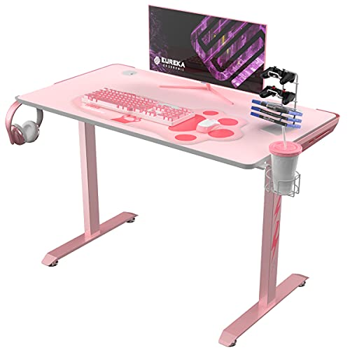 """EUREKA ERGONOMIC I1-S Pink Gaming Desk, 43.3"""" Small Home Office PC Gaming Computer Desk with Neko Paw Mousepad, T-Shaped Writing Study Tables Popular Gift for Girlfriend Female E-Sports Lover"""