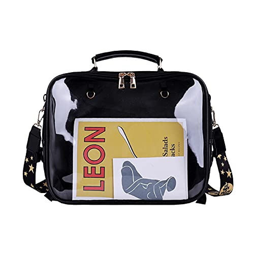 Ita Bag Backpack Purse, JK Uniform Clear Window Bag Anime Pins Satchels Daypack Rucksack Purse for Cosplay, DIY Transparent Crossbody Messenger Shoulder Bag (Black)
