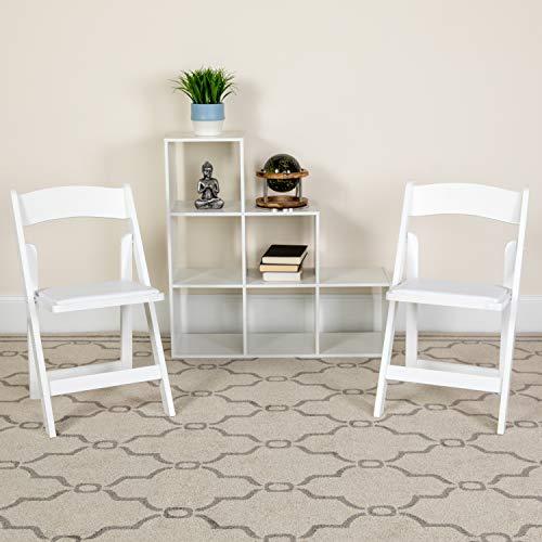 Flash Furniture Hercules ™ Sedia Pieghevole in Legno Bianco con Seduta Imbottita, White, 4 pz