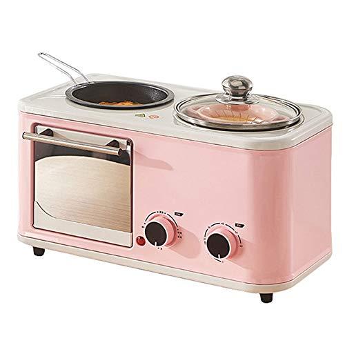 SMEJS Eléctrico 3 en 1 de los hogares Desayuno automático Mini Pan Tostadora Horno de cocción de Tortilla Sartén Hot Pot Caldera Vapor del alimento (Color : A)