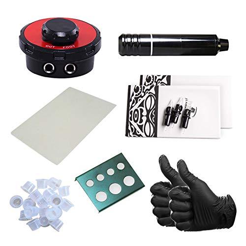 One Tattoo World - 7pc Rotary Tattoo Machine Kit, Gloves, Ink Caps, Paper, Cartridges, and Power Supply, OTW-KPB01A
