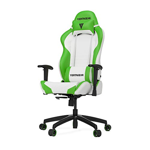 VERTAGEAR S-Line 2000 Gaming Chair, Medium, White/Green chair gaming green