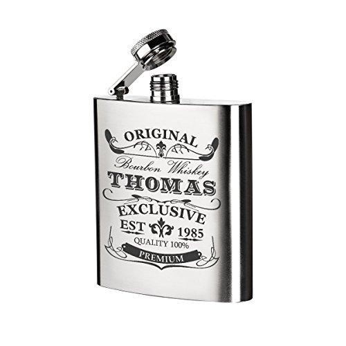 polar-effekt Edelstahl Flachmann mit Personalisierte Gravur - Schnapsflasche 200 ml - Geschenkidee für Männer oder Geschenk für Freund zum Geburtstag - Motiv Original-Exklusive
