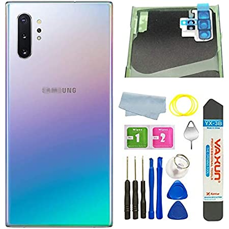 Note 10 Plus with Pre-Installed Camera Glass Lens Tape Auro Blue Slimall Battery Back Glass Rear Cover Housing Door Replacement for Samsung Galaxy Note 10 Short USB c Charging Cable