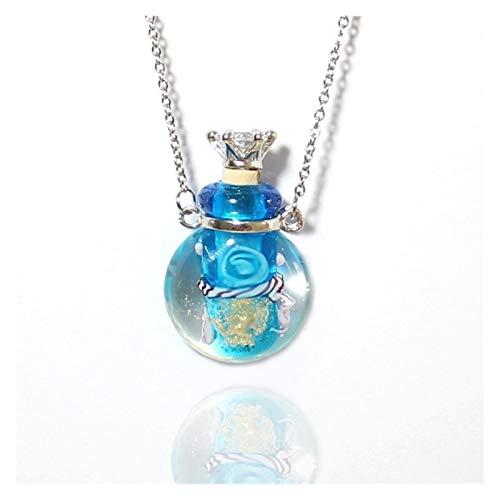 PHOOW Collar de Perfume de Cristal de Murano, 1 Pieza de Aceite Esencial de jarrón Redondo PERFUMENTE PERFUMENTE Y PERFUMENTE DE DAMIAS (Metal Color : Light Blue)