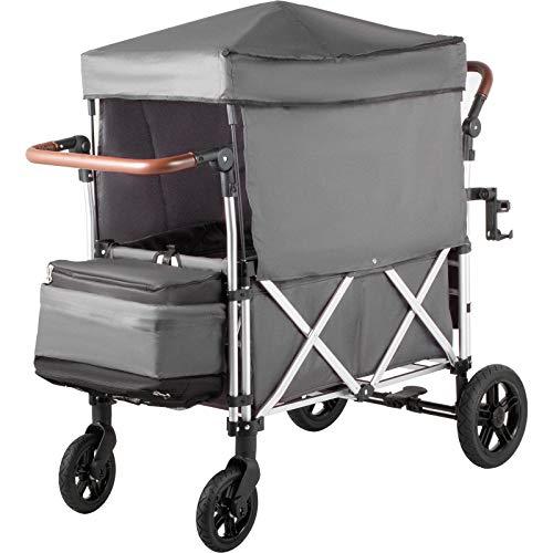 VEVOE 110LBS Capacity Folding Wagon Trolley Push Pull Folding Wagon...