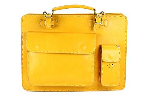 Belli 'Design Bag Verona ital. Leder Businesstasche | Aktentasche | Lehrertasche unisex - Farbauswahl - 39x29x11 cm (B x H x T) (Gelb)
