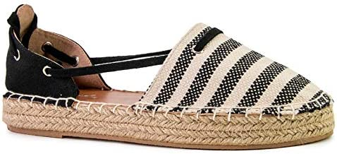 Qupid Sequoia Flats for Women - Striped Closed Toe Strappy Espadrille Sandals