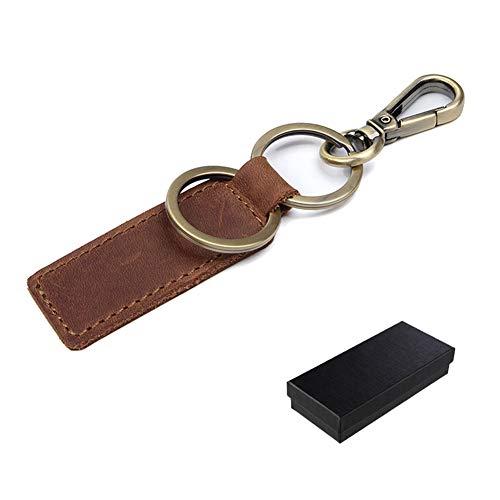 AMOE Schlüsselanhänger Leder mit Exquisite Verpackungsbox Erwachsene Geschenke für Männer Freund,Geschenkidee zum Geburtstag Jahrestag,Used Look(Braun)