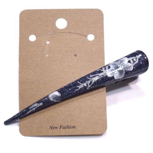 rougecaramel - Accessoires cheveux - Pince bec/Pince concorde, motif fleur - gris
