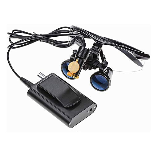 QX Lupa Goggles Magnificadores binoculares quirúrgicos Vidrio óptico 3.5 x 420 mm Distancia de Trabajo con lámpara de Faros LED y Caja de Aluminio