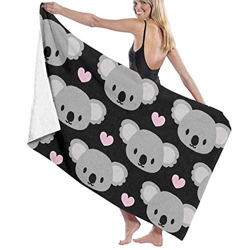 ETGBFHRDH Love Koala Unisex Strandtücher Waschlappen Pool Handtuch Frottee Handtuch geeignet für Reisen Strand Schwimmen Bad Camping und Picknick 81 x 132 cm