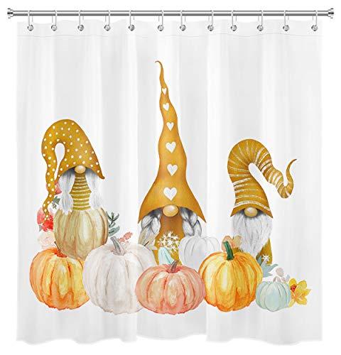 HVEST Thanksgiving Kürbis Duschvorhang Zwerge Bauernhaus Herbst Urlaub Badezimmer Vorhang 12 Haken enthalten 175 x 177 cm Polyester Stoff Wasserdicht Vorhang