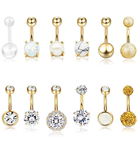 Masedy 12Pcs Belly Button Rings for Women Girls Surgical Steel Curved Navel Barbell Rings Body Piercing Jewelry Gold