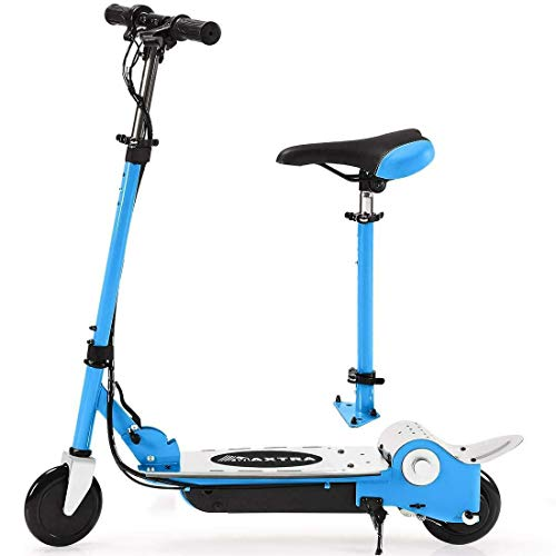 MAXTRA E120 Electric Scooter with Removable Seat for Kids Ages 6-12 - Up to 10mph, Foldable and Adjustable, 2 Rides in 1