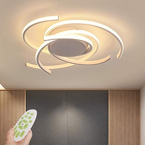 Moderne LED-dimmbare Deckenleuchte mit Fernbedienung Kücheninsel Lampe Esstisch Kreative Spirale Blumenform Design Metall Acryl Decke Kronleuchter Beleuchtung, Weiß