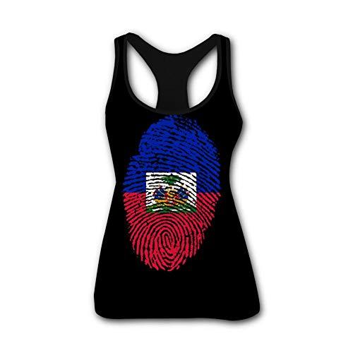 AolaZW Womens Fashion Haiti Flag Fingerprint 3D Printed Vest Tank Tops Sleeveless T Shirt M Black