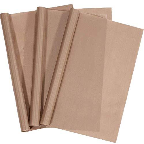 3 Pack PTFE Teflon Sheet for Heat Press Transfer Sheet 16' x 12' Non Stick Heat Transfer Paper Washable Reusable Heat Resistant Baking Sheets Craft Mat (Brown)