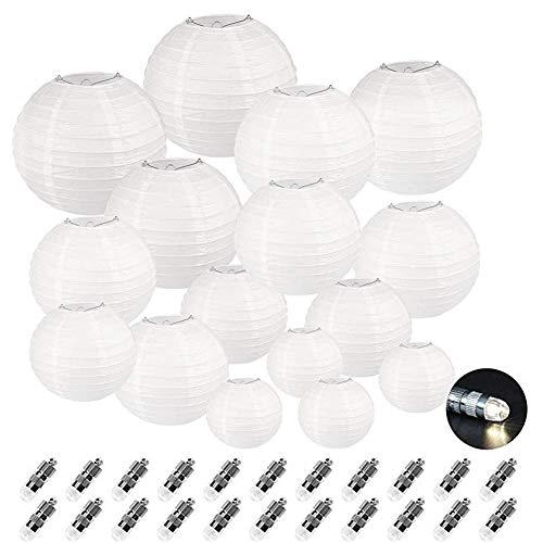 Dazone 24 Stücke weiße Papierlaterne Laterne Deko Feier Lampions Papierlampen mit 24er Mini LED Lichter Hochtzeit Dekoration Papier Laterne