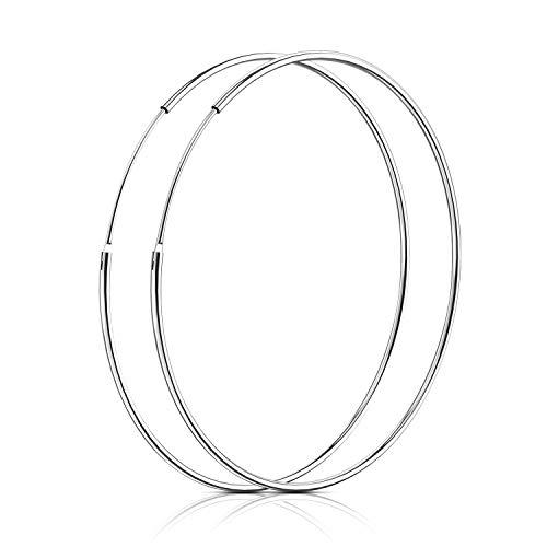 SOSMAR - Creolen silber für Damen aus echt 925 Sterling Silber, große Creolen Hoop Ohrringe für Damen Mädchen - 50mm