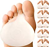 Metatarsal Ball of Foot Cushions – Gel Metatarsal Foot Pads for Women or Men's Metatarsalgia Pain Relief. Orthotics Metarsal Support Pad with Toe Loop to Help Sesamoiditis & Mortons Neuroma (5 Pairs)