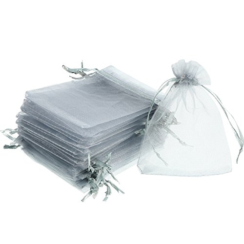 Mudder 50 Pack Organza Gift Bags Wedding Party Favor Bags Jewelry Pouches Wrap, 4 x 4.72 Inches (Silver Grey)
