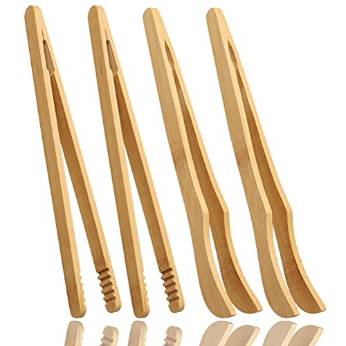 4 Stück Bambus Lebensmittel Clip, 18 CM Bambus Zangen Klein Grillzange Küche Zange für Toast Tee Sushi Enthält(2 gerade Zange und 2 gebogene Zange)