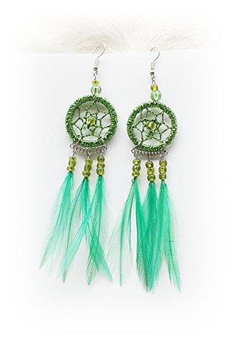 Hejoka-Shop Indianer Ohrschmuck Paar GLITZER Traumfänger GRÜN 28mm. Ring Ohrringe Ohrhänger Mini-Federn Perlen Dreamcatcher