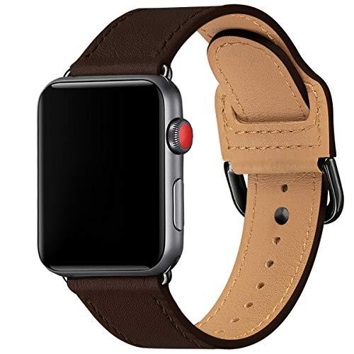 SUNFWR Pulsera compatible con Apple Watch 38 mm, 40 mm, 42 mm, 44 mm, fina y ligera, correa de repuesto para iWatch Serie 6/5/4/3/2/1,SE (42 mm, 44 mm), color marrón y negro